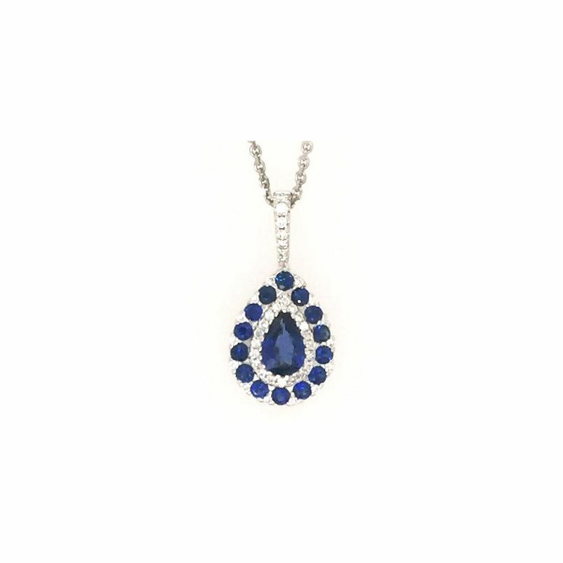 Signature Collection 18k White Gold Pear Sapphire Pendant surrounded by Sapphires and Diamonds