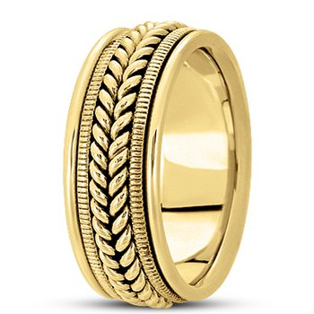 Unique Settings HM112 - Y - 14k Yellow Gold Handmade Handwoven 9mm Men's Wedding Band