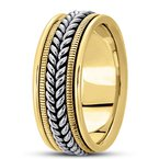 Unique Settings Unique Settings HM112 - Y - 14k Yellow Gold Handmade Handwoven 9mm Men's Wedding Band