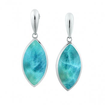 Alamea Collection Sterling Silver Marquise Shaped Earrings with Larimar