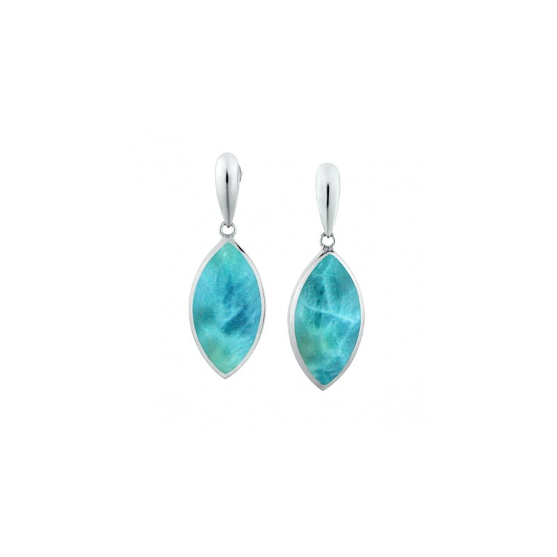 Alamea Larimar  Alamea Collection Sterling Silver Marquise Shaped Earrings with Larimar