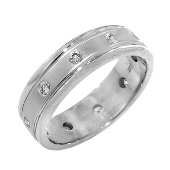 Mens 14k White Gold Satin Finish Bezel Set Diamond Ring