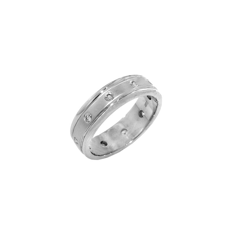 Signature Collection Mens 14k White Gold Satin Finish Bezel Set Diamond Ring
