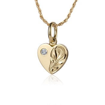 14k Yellow Gold Scroll Heart Pendant with a round Cubic Zirconia
