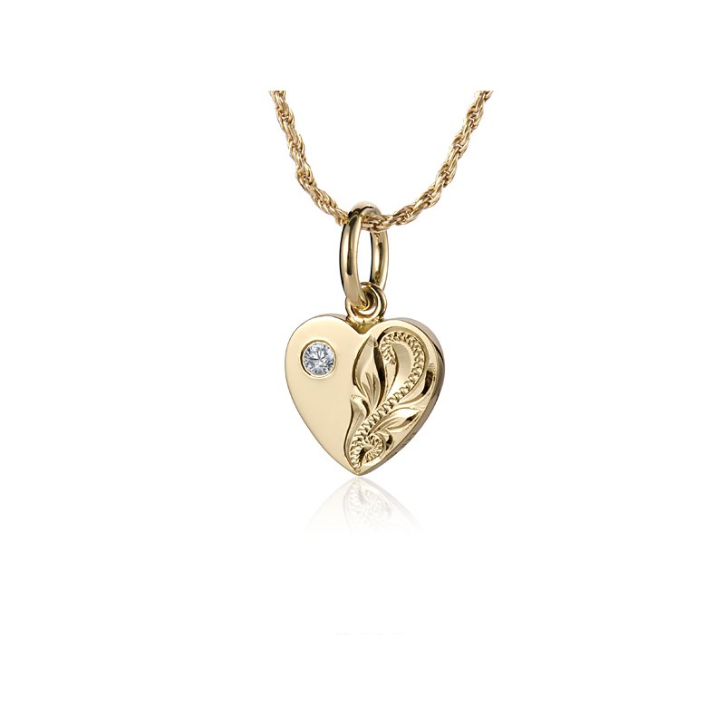 Signature Collection 14k Yellow Gold Scroll Heart Pendant with a round Cubic Zirconia