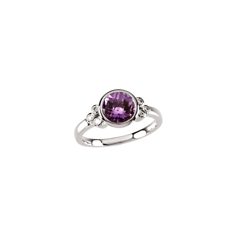 Signature Collection Genuine Checkerboard Amethyst & Diamond Ring