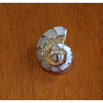 Kovel Sealife Sterling Silver and Yellow Gold Plate Nautilus Shell Pendant  with inlaid White Mother of Pearl.