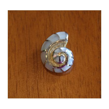 Sterling Silver and Yellow Gold Plate Nautilus Shell Pendant  with inlaid White Mother of Pearl.