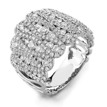 18k White Gold Fancy Pave' Set Diamond Band - #38595