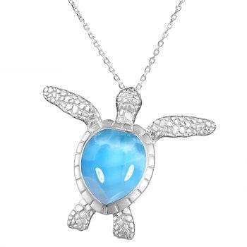 Alamea Larimar Turtle Pendant in Sterling Silver