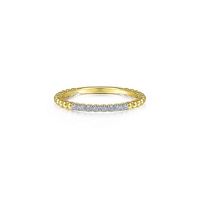 Signature Collection 14k Yellow Gold Bujukan Bead & Diamond Stackable Ring by Gabriel NY