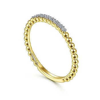 14k Yellow Gold Bujukan Bead & Diamond Stackable Ring by Gabriel NY