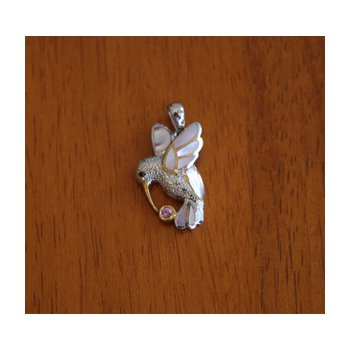 Sterling Silver and Gold Plate Hummingbird Pendant  with inlaid Pink Mother of Pearl and Pink Tourmaline