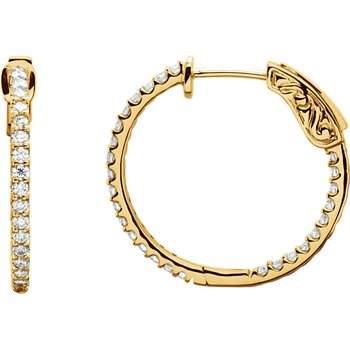 3/4ctw Diamond Hoop Earrings with Diamonds Inside and Out set in 14k Yellow Gold