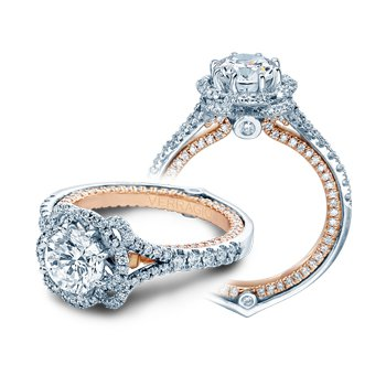 Verragio Couture 0426TT - 18k White and Rose Gold Halo Style Diamond Engagement Ring by Verragio
