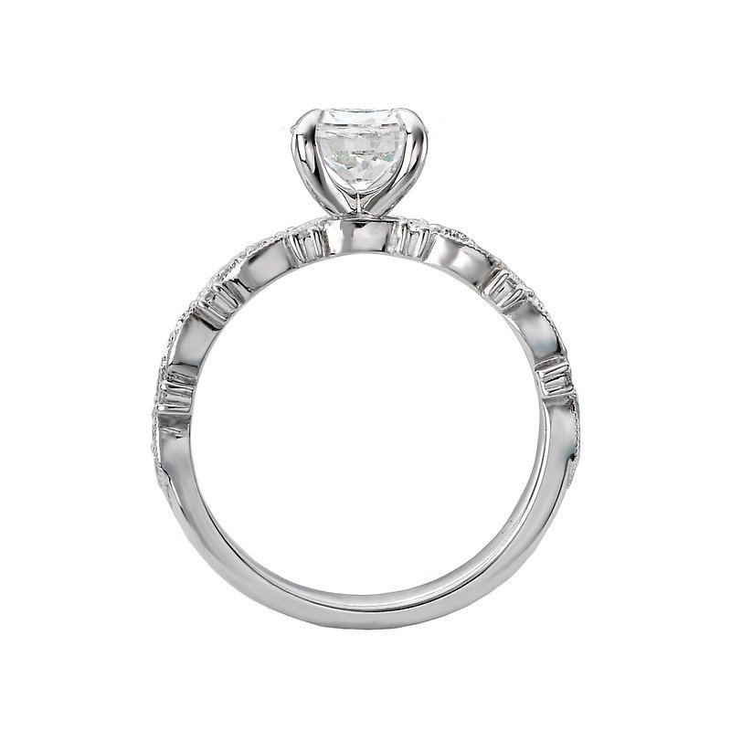 Signature Collection 14k White Gold Infinity Diamond Engagement Ring with Milgrain