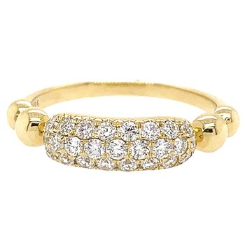 14k Yellow Gold 3-Row Diamond Pave' Band