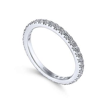 14k White Gold Micro Pavé Set Eternity Ring Anniversary Band by Gabriel NY