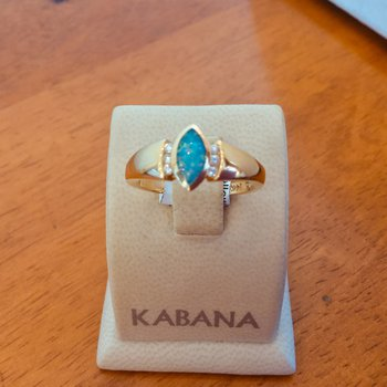 Kabana Marquise Australian Opal and Diamond Ring - #34310