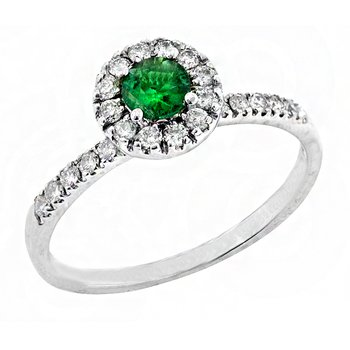 Genuine Halo Style Emerald and Diamond Ring in 14k White Gold