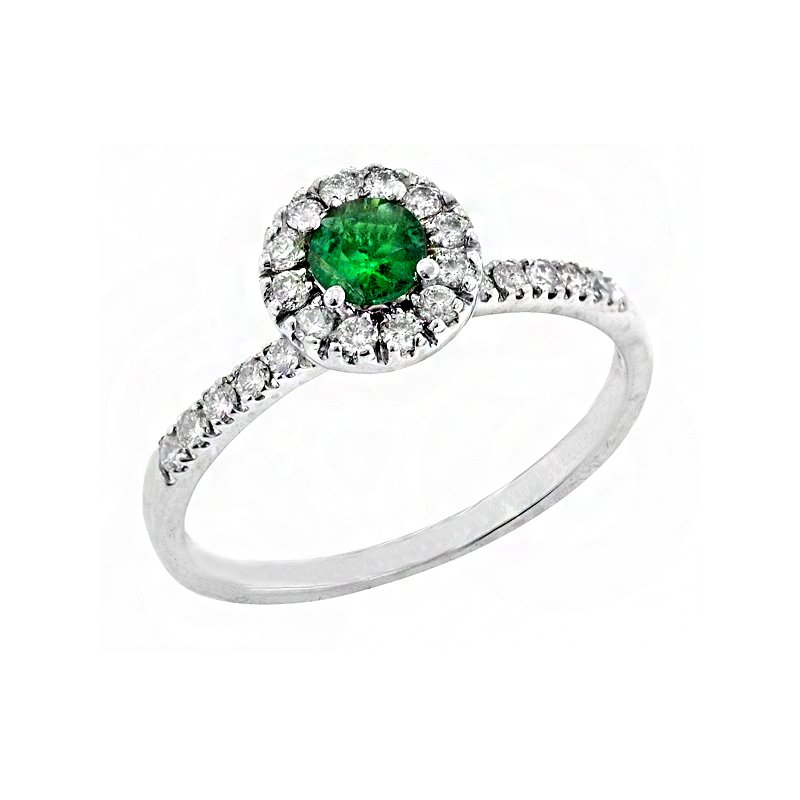 Signature Collection Genuine Halo Style Emerald and Diamond Ring in 14k White Gold