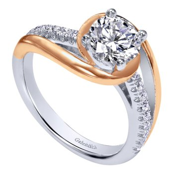 14k White and Rose Gold Swirl Engagement Ring Mounting by Gabriel NY