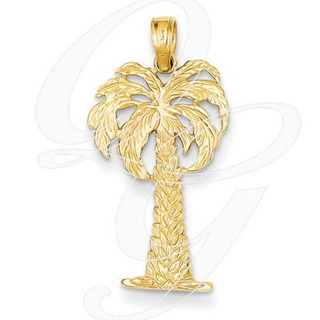 Quality Collection Sealife 14k Yellow Gold Palm Tree Pendant