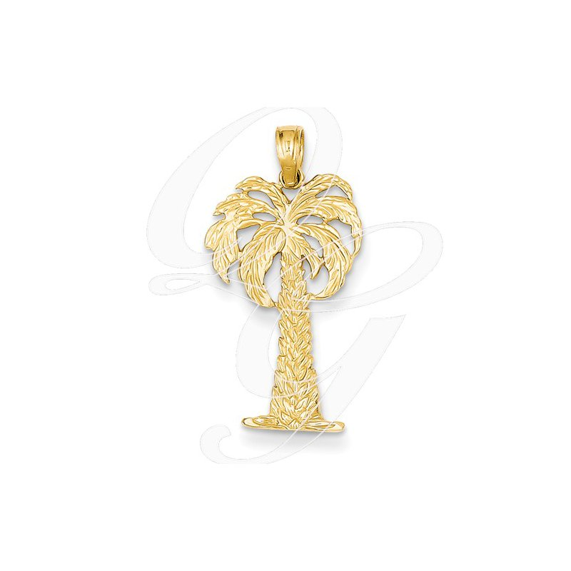 Sealife Jewelry Quality Collection Sealife 14k Yellow Gold Palm Tree Pendant
