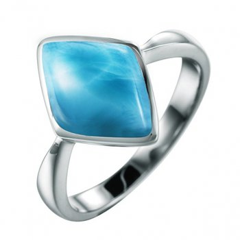 Alamea Sterling Silver Rhombus Ring with Larimar
