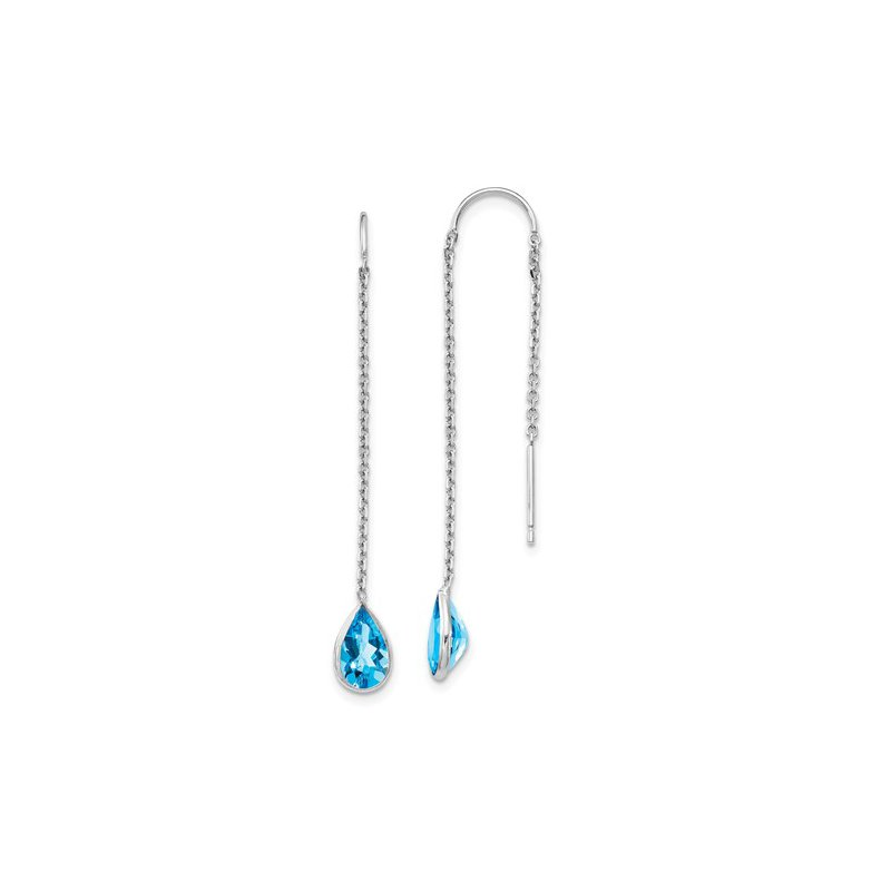 Signature Collection 14k White Gold Pear Blue Topaz Threader Earrings