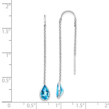 14k White Gold Pear Blue Topaz Threader Earrings