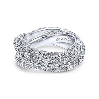14k White Gold Chic Twist Diamond Eternity Ring Anniversary Band by Gabriel NY