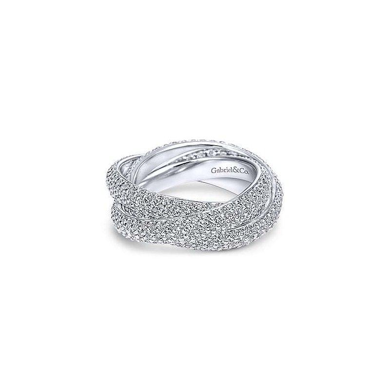 Gabriel NY 14k White Gold Chic Twist Diamond Eternity Ring Anniversary Band by Gabriel NY
