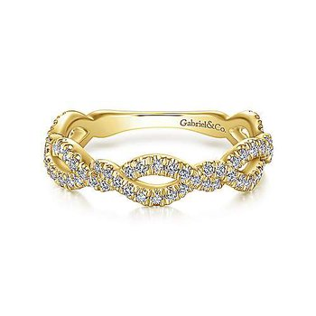 14k Yellow Gold Twisted Pave' Diamond Ring by Gabriel NY