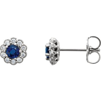 14k White Gold Sapphire and Diamond Earrings - #ELI86254SS