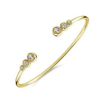 14k Yellow Gold Bezel Set Diamond Bangle Bracelet by Gabriel NY