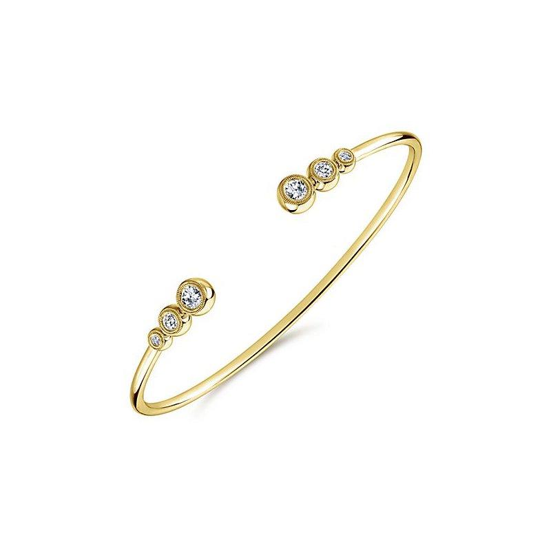 Signature Collection 14k Yellow Gold Bezel Set Diamond Bangle Bracelet by Gabriel NY