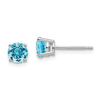 14k White Gold 5mm Round Blue Topaz Stud Earrings