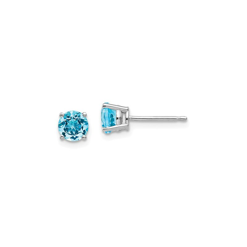 Signature Collection 14k White Gold 5mm Round Blue Topaz Stud Earrings
