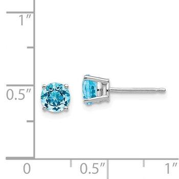 14k White Gold 5mm Round Blue Topaz Stud Earrings