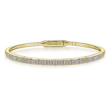 14k Yellow Gold Double Row Diamond Tennis Bracelet by Gabriel NY