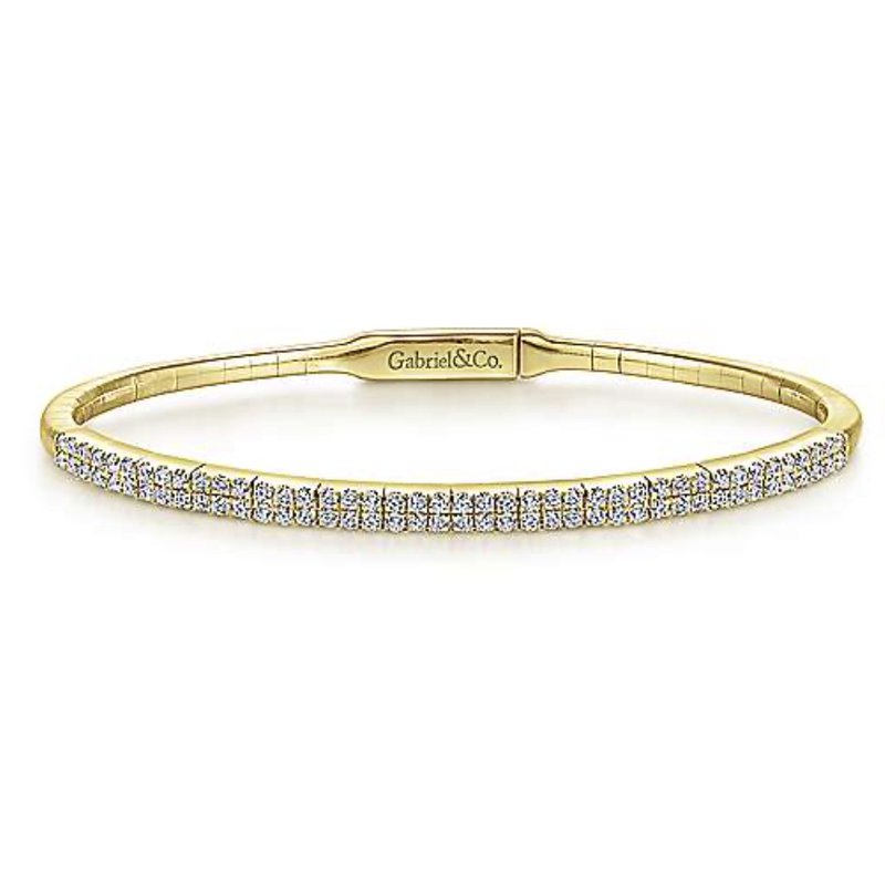 Signature Collection 14k Yellow Gold Double Row Diamond Tennis Bracelet by Gabriel NY