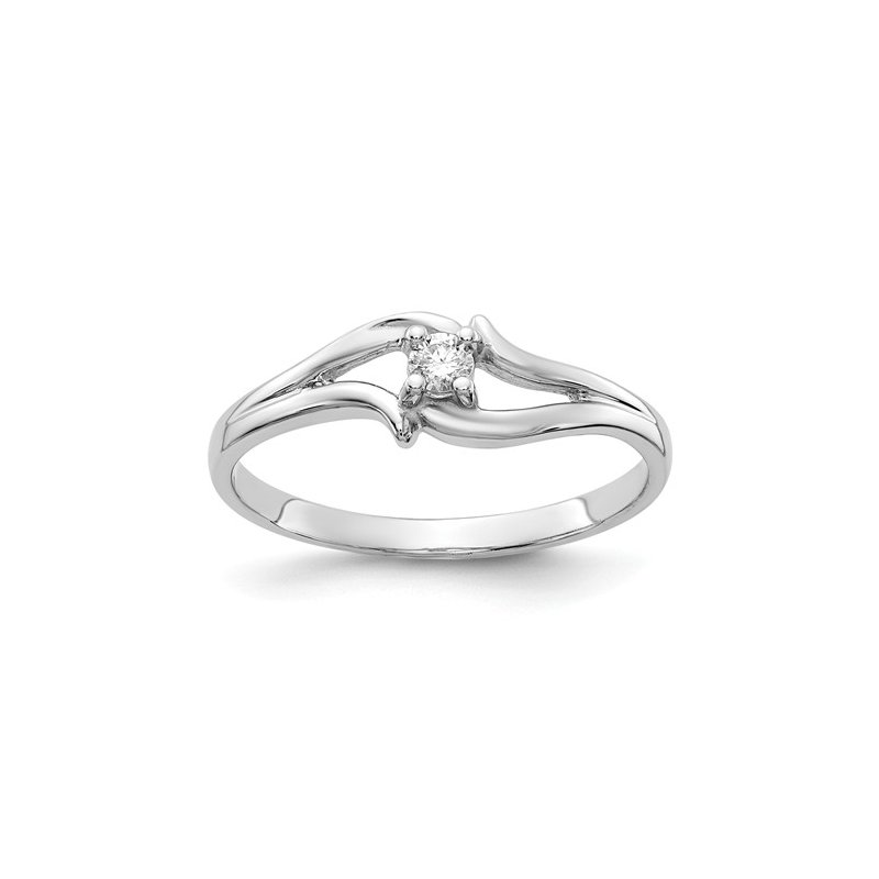 Signature Collection From the Promise Ring Collection 14k White Gold Swirl Design Prong Set Solitaire Diamond Ring