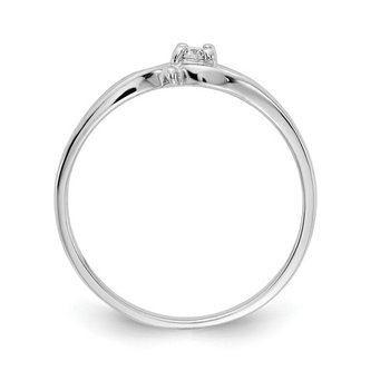 From the Promise Ring Collection 14k White Gold Swirl Design Prong Set Solitaire Diamond Ring