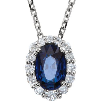 14k White Gold Oval Sapphire and Diamond Necklace