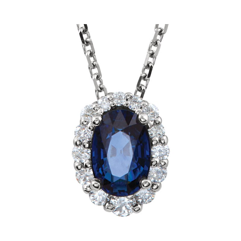 Signature Collection 14k White Gold Oval Sapphire and Diamond Necklace