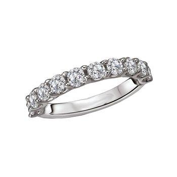 14k White Gold Wedding Band with Round Brilliant Diamonds