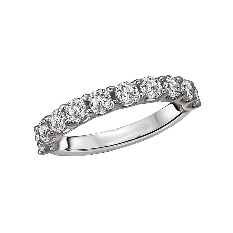 Signature Collection 14k White Gold Wedding Band with Round Brilliant Diamonds