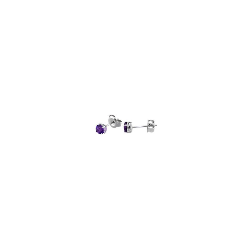 Signature Collection Genuine Amethyst Earrings in 14k White Gold