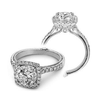 Verragio Couture 0430DCU - 18k White Gold Cushion Halo Diamond Engagement Ring by Verragio